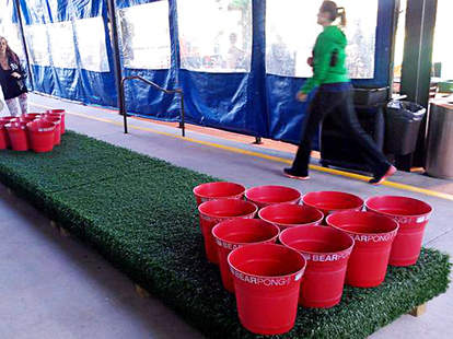 Giant beer pong at Sand Diego Brew Fest at Liberty Station.
