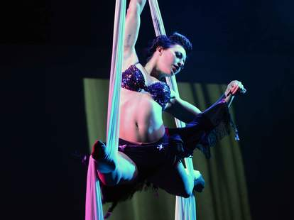 A silk dancer in the Borgata's The Burlesque Show at the Music Box