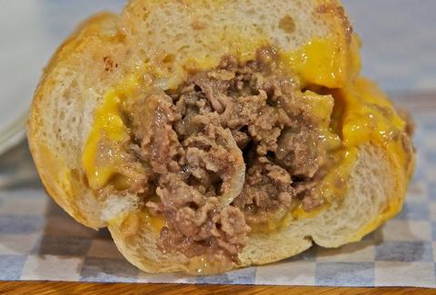Philly cheesesteak sandwich with cheese whiz