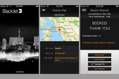 BlackJet app screenshots