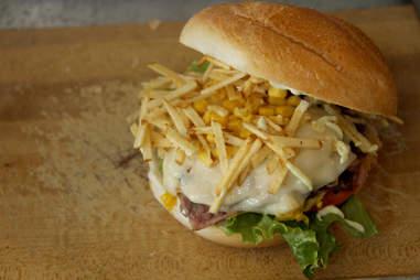 Potato sticks fried egg burger