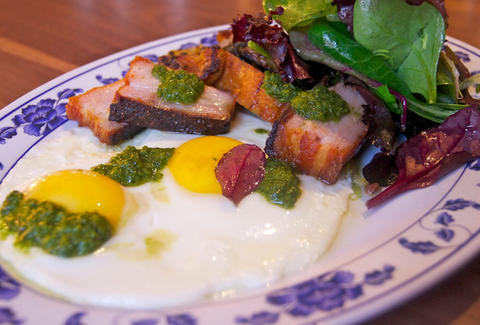 bacon, eggs, and salsa verde