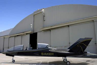 saker s-1 in front of hangar