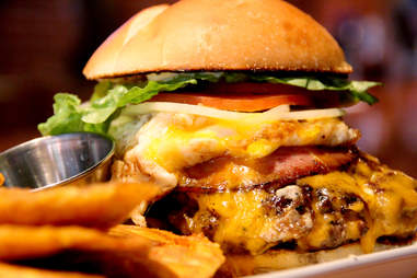 The pork roll and fried egg Jersey Burger at Sto's Bar