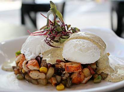 Lobster Hash made with poached eggs & truffle hollandaise