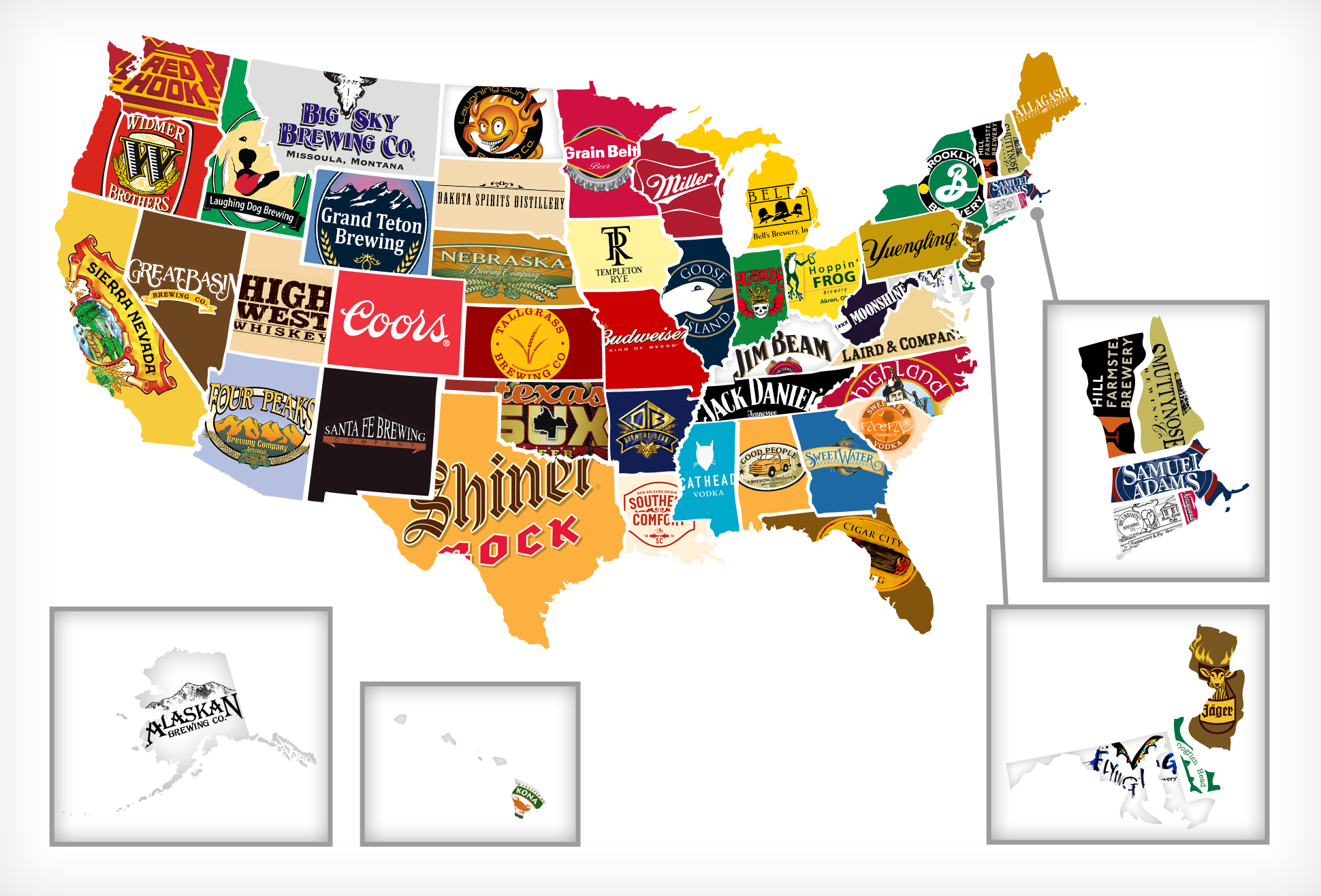 Map of All 50 States\' Most Iconic Beer/Liquor - Thrillist