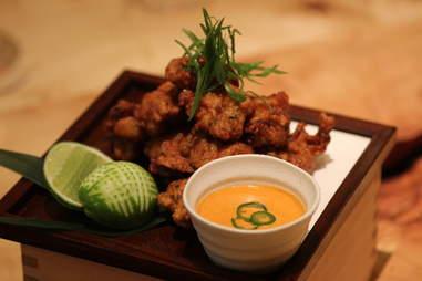 Fried chicken at Roka Akor