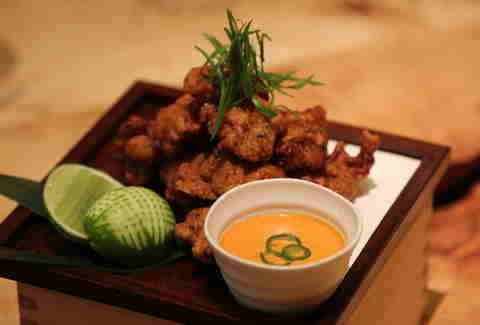 Fried chicken at Roka Akor
