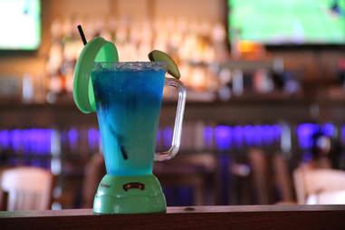 A 22oz bleneder pitcher cocktail at Margaritaville in Atlantic City
