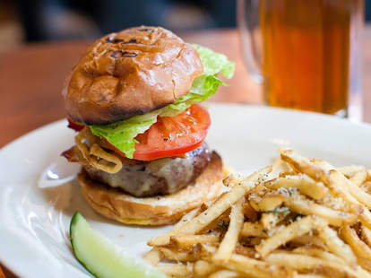 cheeseburger, lettuce, tomato, pickle, french fries