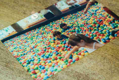 Mijo's children in ball pit photo