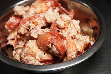 Bowl of fresh lobster meat at Pauli's North End