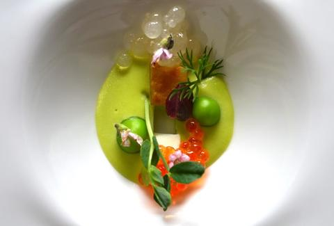 English Pea and Trout Roe
