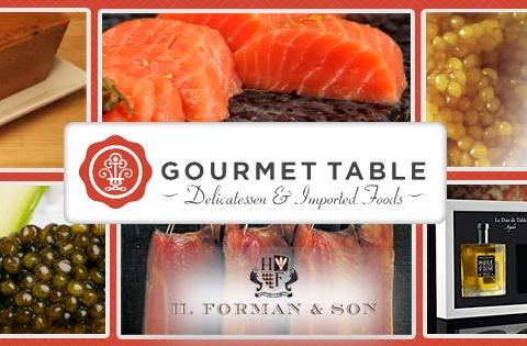 An image of various products you can buy at Gourmet Table, like cheese, caviar, and salmon.