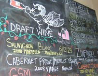 Wine list at Fat Angel