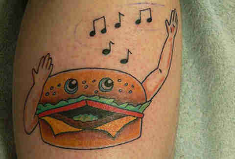 Singing cheeseburger tattoo