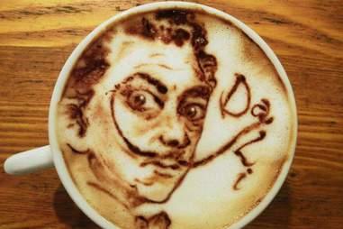 Salvador Dali latte art