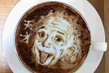 Einstein latte art