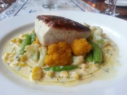 Wild salmon, cauliflower, and peas at Brasserie Beck in Washington DC