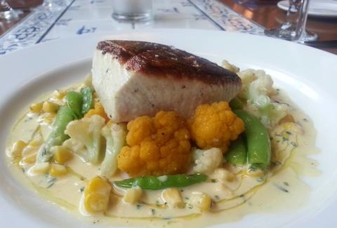 Wild salmon, cauliflower, and peas at Brasserie Beck in Washington DC