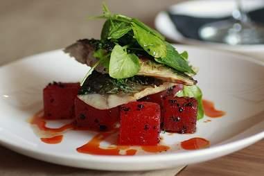 Pressed-watermelon mackerel at Block + Tackle.