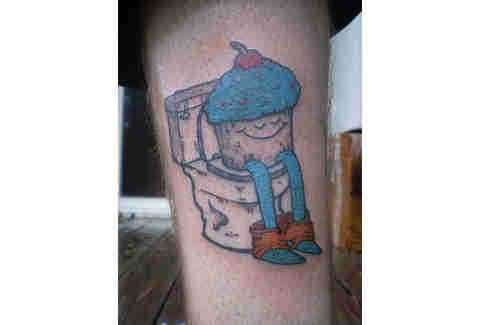 Pooping cupcake tattoo