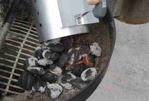 charcoal in a grill