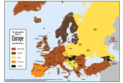 "A map of how to say ""beer"" in each European country"