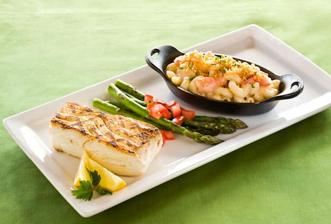 white fish, asparagus, and lobster macaroni and cheese