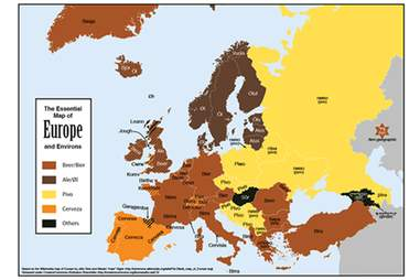 """A map of how to say """"beer"""" in each European country"""