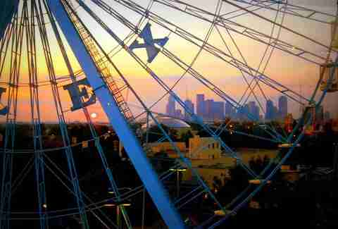 The view of the skyline from Fair Park