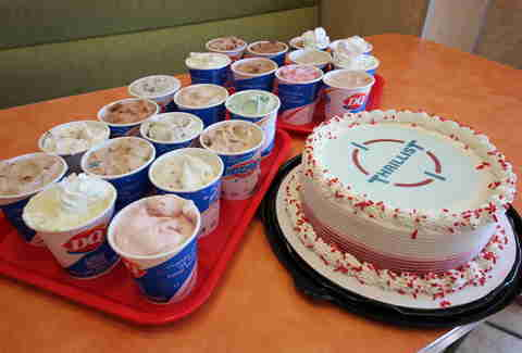 ice cream cake and Blizzards at Dairy queen