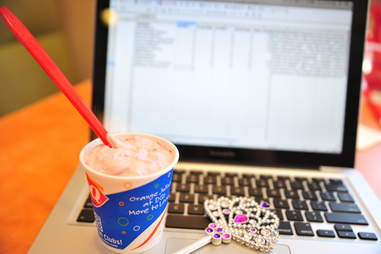 choco cherry love blizzard at Dairy Queen