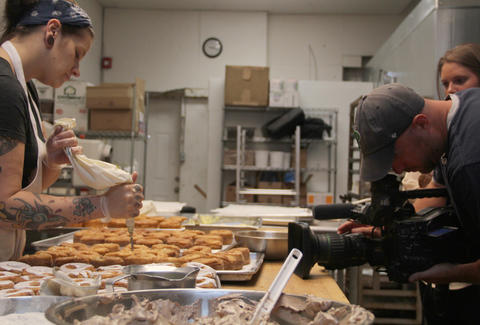 The FYI Philly crew films the making of Swiss Cro Creme Cronuts at Swiss Haus Bakery