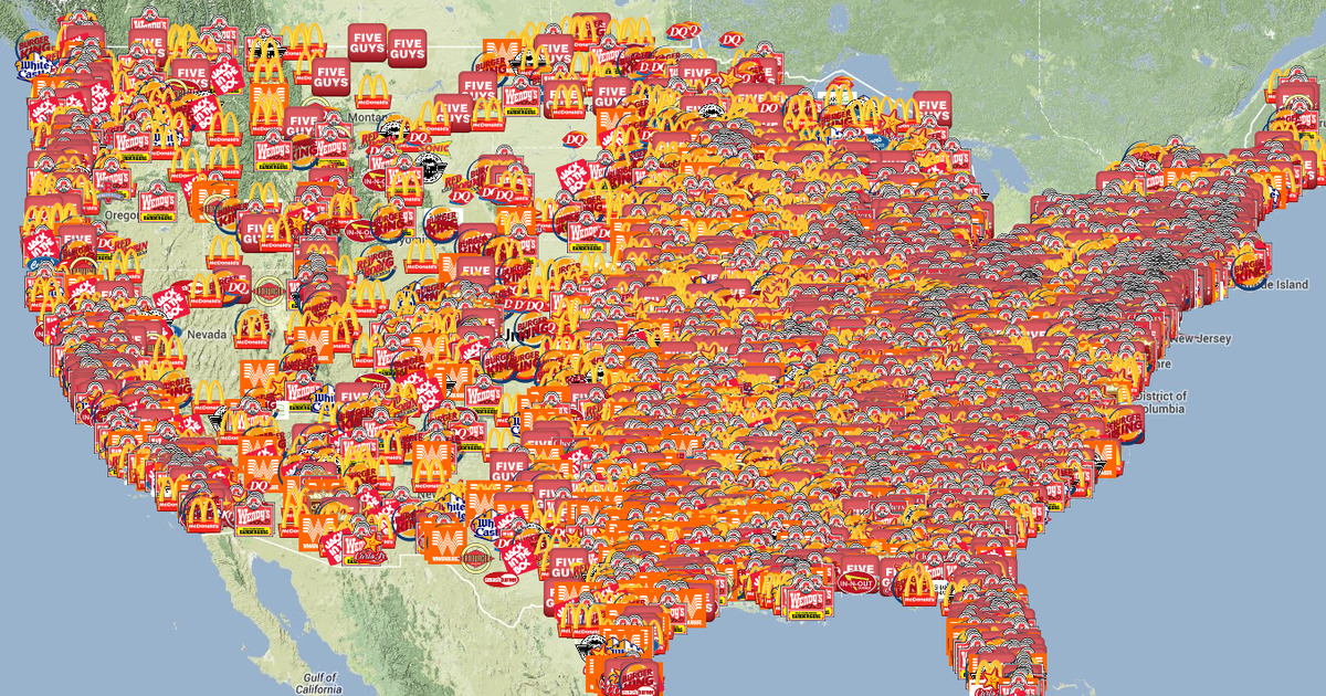 This map shows the most talked-about fast food burgers in ...