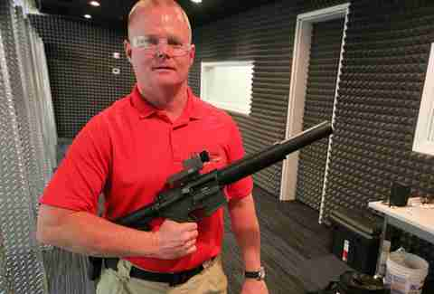 Colt M4 9mm with suppressor at Lock and Load Miami