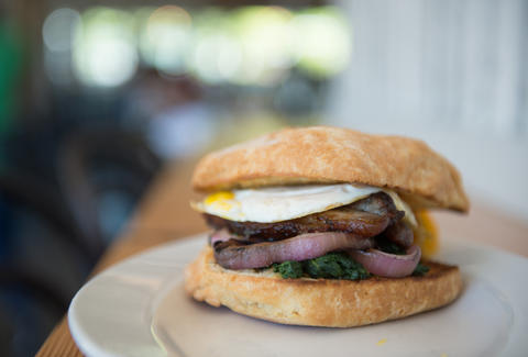 Maple-Braised Pork Belly Biscuit Sandwich - The Commons - Seattle