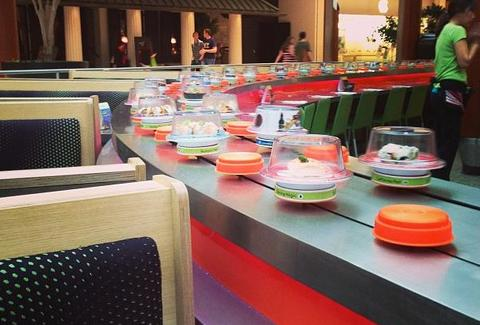 Seating next to the conveyor belt at Wasabi Sushi