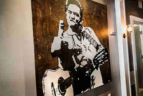Johnny Cash painting at Sea and Smoke in Del Mar.