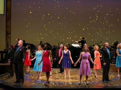 A performance on stage at the Guthrie Theatre