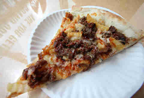 BBQ steak and fries pizza at Dimo's in Wicker Park