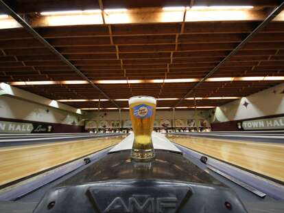 A beer at Town Hall Lanes