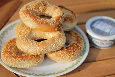 Montreal sesame bagels with cream cheese tub