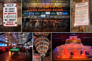 Pool, beer pong and a chandelier made of Jack Daniel's bottles at the Lucky Bastard Saloon in San Diego.