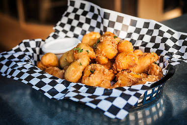 Beer battered California cheese curds at Lucky Bastard Saloon in San Diego.