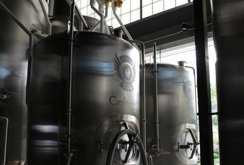 The brewing tanks at Griffin Claw Brewing Company
