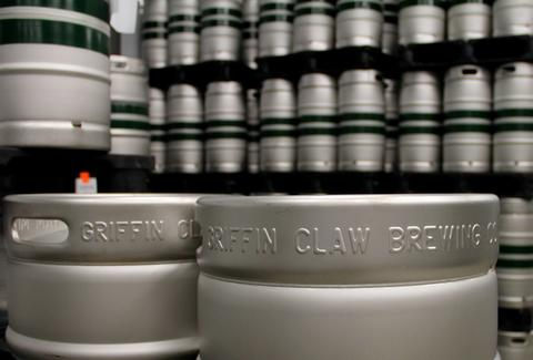 The kegs at Griffin Claw Brewing Company