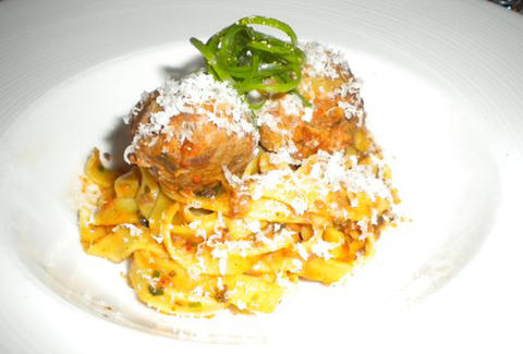 Fettuccine with Veal Meatballs at Genoa