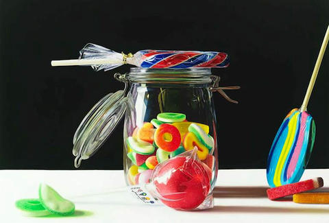 Jar of candy and lollipops at Dylan's Candy Bar in Miami, FL
