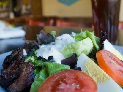 Steak salad and a beer